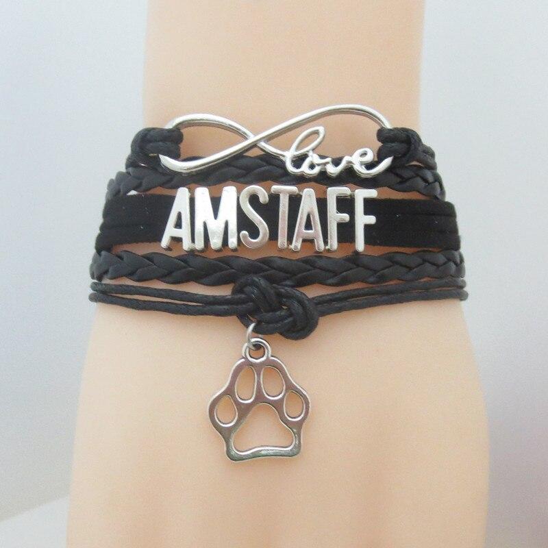 Amor amstaff pulsera hecha a mano encanto amstaff pulseras y brazaletes amstaff perro regalo