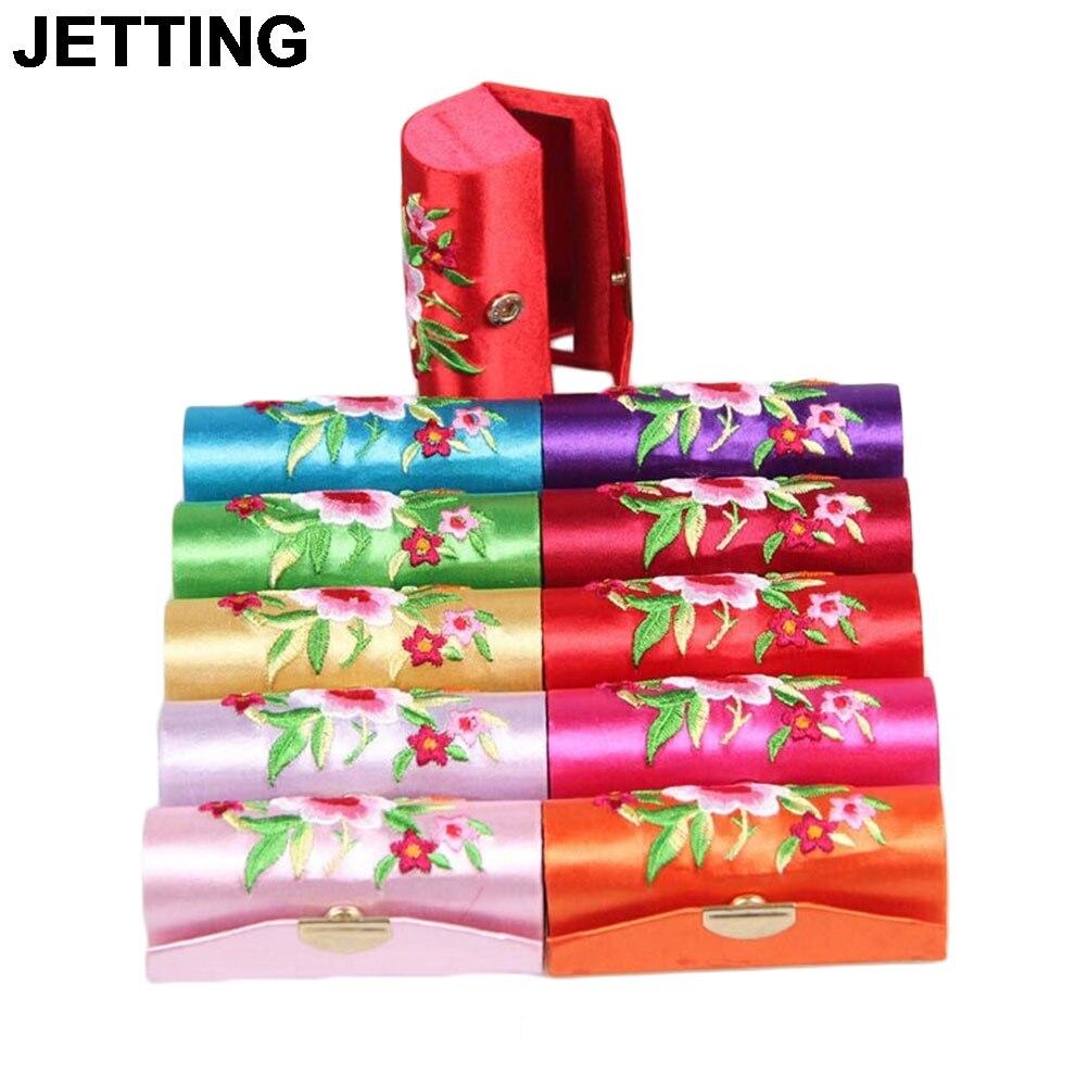 JETTING 1PCS הסיני סגנון פרח עיצוב רטרו שפתון מקרה קוסמטי תיק Brocade רקום מחזיק קופסא עם מראה