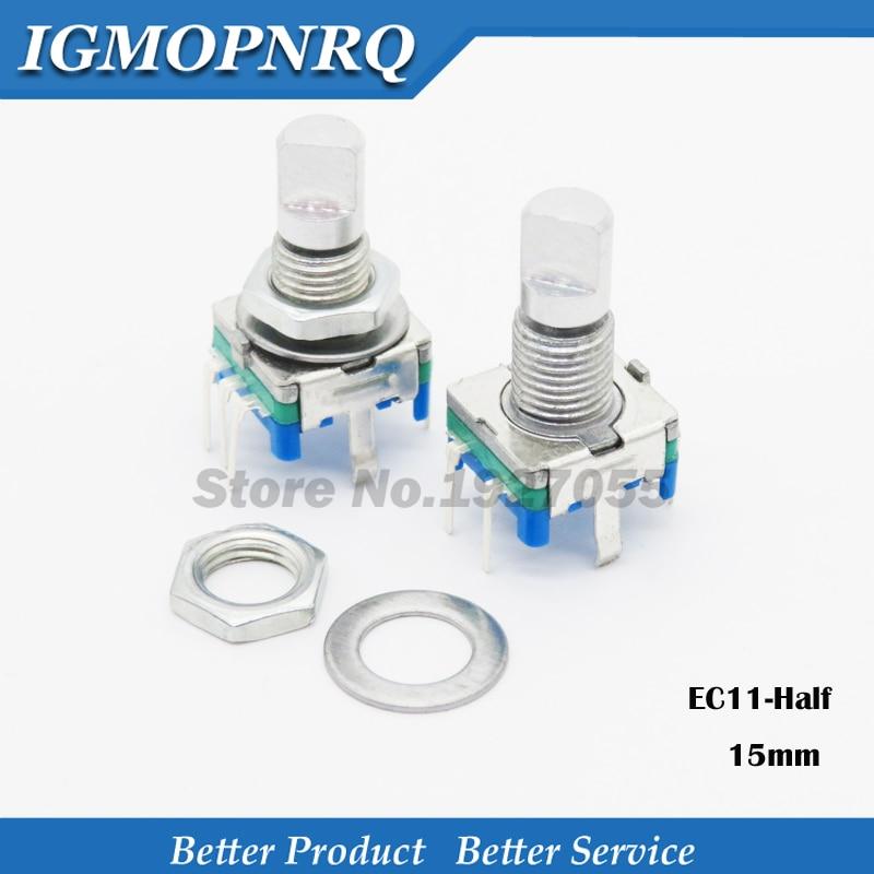 2PCS Halb griff 15mm drehgeber codierung schalter/EC11/digitale potentiometer mit schalter 5 Pin NEUE