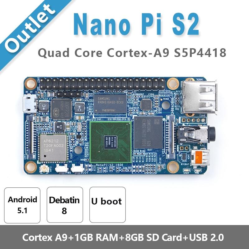 S5P4418 Cortex-A9 NanoPi S2(1G RAM,8GB eMMC,1.4GHz)+X710 LCD+8GB SD Card,etc=NanoPi S2 KIT-E-F(Runs u-boot,Android5.1,Debian8)