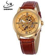 SHENHUA Famous Brand Luxury Gold Skeleton Automatic Mechanical Watches Men Waterproof Shockproof Men