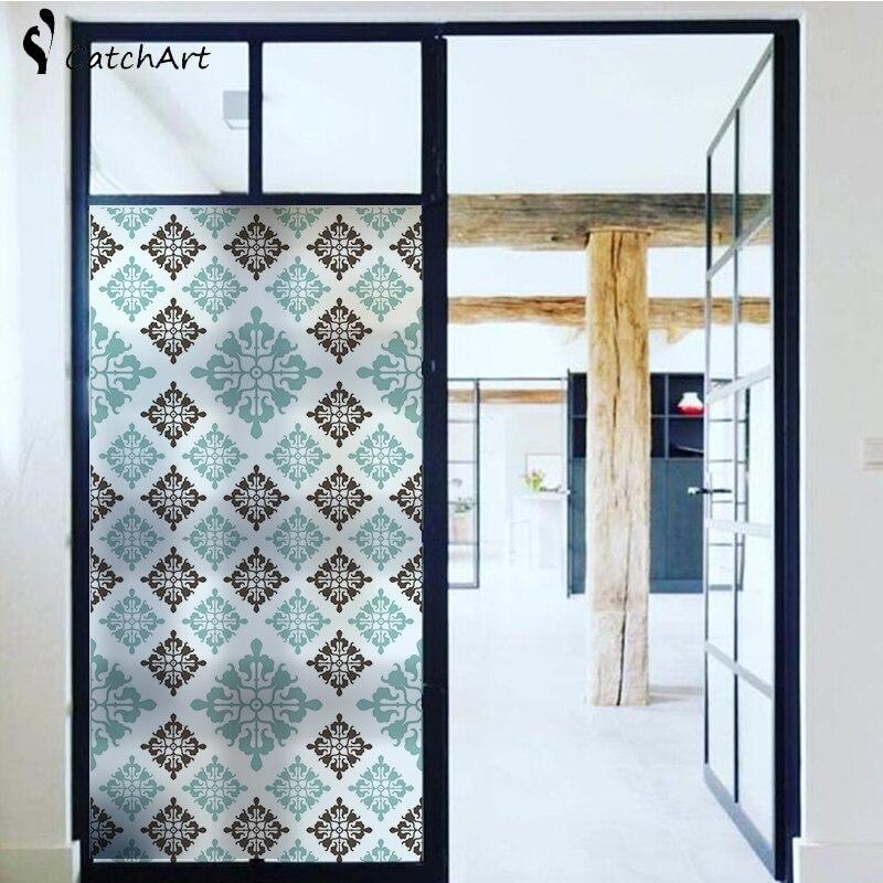 Nueva moda moderna Ventana de geometría abstracta azul película vidrio esmerilado privacidad puerta para sala de estar o baño