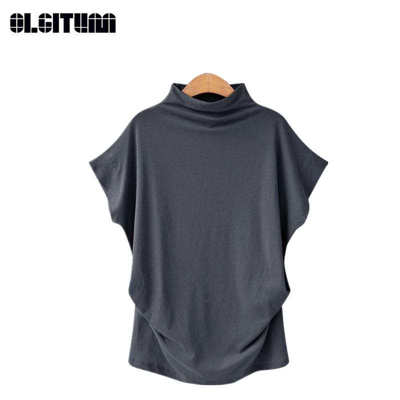 Solta T-shirt Top Feminino de Manga Curta Half-Gola alta Assentamento Camisa Tamanho Grande das Mulheres S-6XL para Escolher Senhoras t-shirt TT394