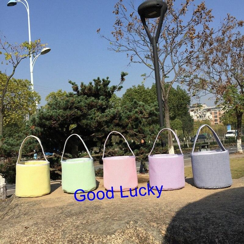 30pcs/lot personalized seersucker 5 colors monogram high quality easter basket seersucker Easter bucket tote bag