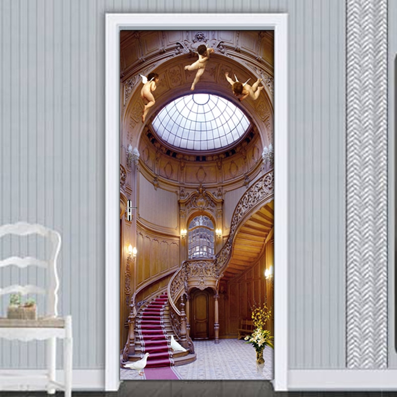 3D PVC Waterproof Self-Adhesive DIY Door Stickers European Angel Staircase Wall Stickers Decor Door Wallpaper 3D Decal Poster