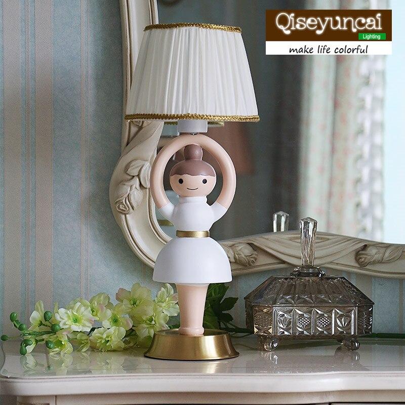 Qiseyuncai Children's Room Rotating Ballet Full Copper Table Lamp Bedroom Creative Dressing Table Bedside Lighting free shipping