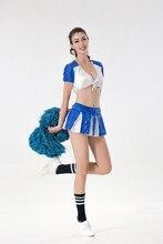 الأزرق الأبيض الترتر مثير كرة القدم الطفل المشجع زي المصفقين مجموعة الجمباز الأداء زي