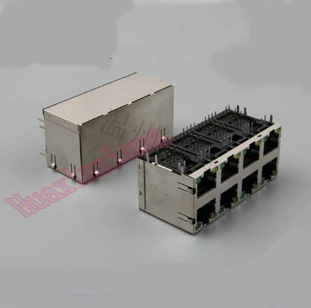 5 unids/lote 8 puertos RJ45 8P8C conector hembra/enchufe 2*4 Escudo de acero red Modular con LED y metralla