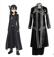 Fantaisies épée art en ligne costume Kirigaya Kazuto cosplay costume pour hommes En Cuir Tranchée Manteau anime vêtements carnaval costume