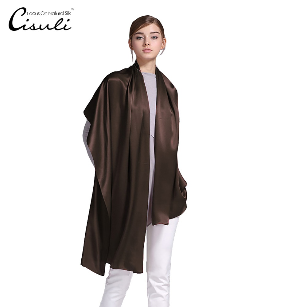 100% Silk Satin Long Scarf 55X180cm Pure Mulberry Silk Plain Color Silk Scarf Factory Direct Online Store 41 Dark Brown Color