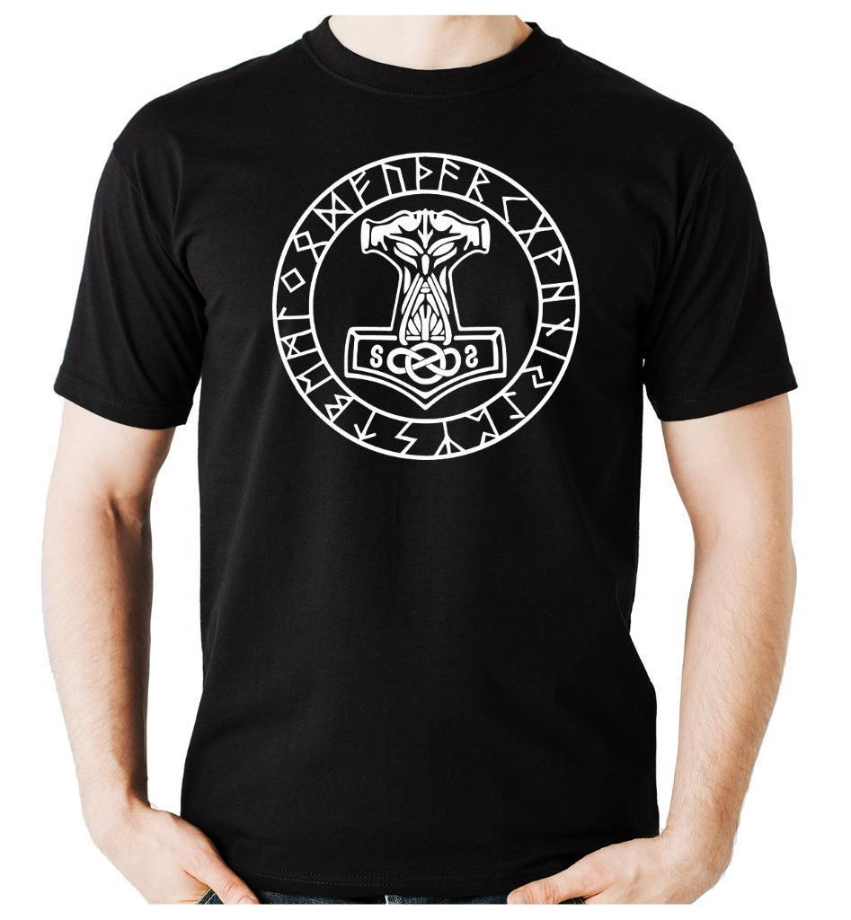 Mjolnir, camiseta para hombre con inscripción de Thor Hammer runa, vikingos nórdicos, Escandinavia, novedad de 2019, Camiseta de cuello redondo para hombre, diseña tu