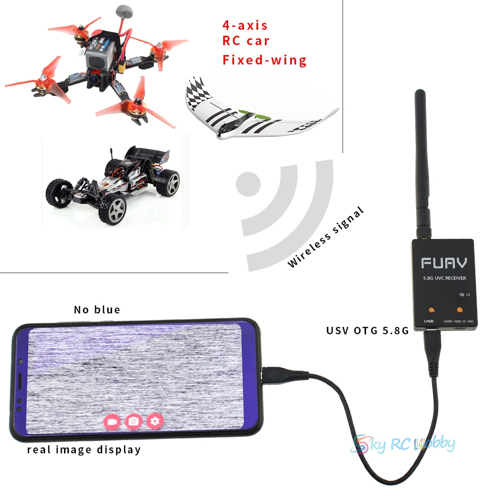 Upgrated FPV Single Dual Receiver Mini OTG 5.8G 150CH Mini FPV Receiver UVC Video Downlink OTG Glasses Android Phone