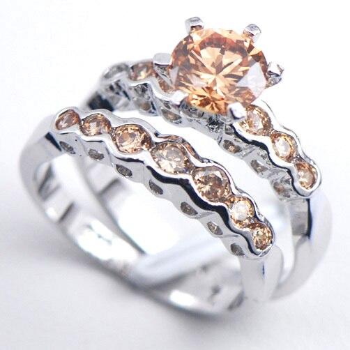 Anillo de compromiso de Plata de Ley 925 para mujer de cristal de morgonita F550 tamaño 6 7 8 9 10 11