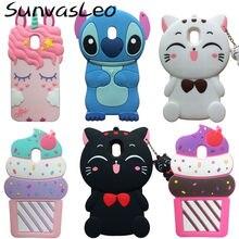 For Samsung Galaxy J3 2018 / J3 Star / Amp Prime 3 3D Cute Cartoon Soft Silicone Case Phone Back Cover Skin Shell Animal Unicorn