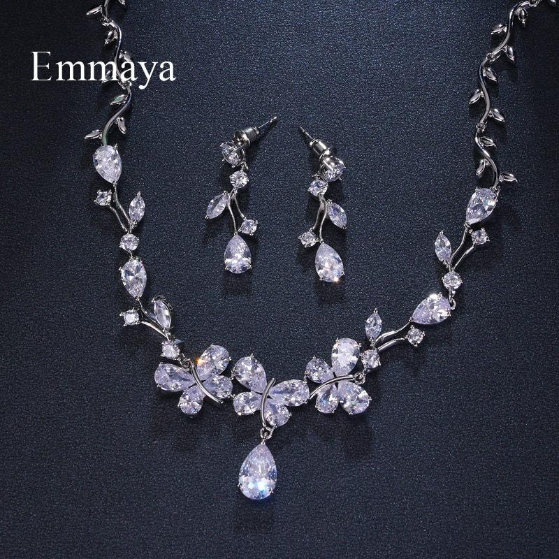 Emmaya Shining Pendant Crystal Cubic Zircon Fashion Earrings Necklace jewelry Set For Women Girls Wedding Party Charm Gifts