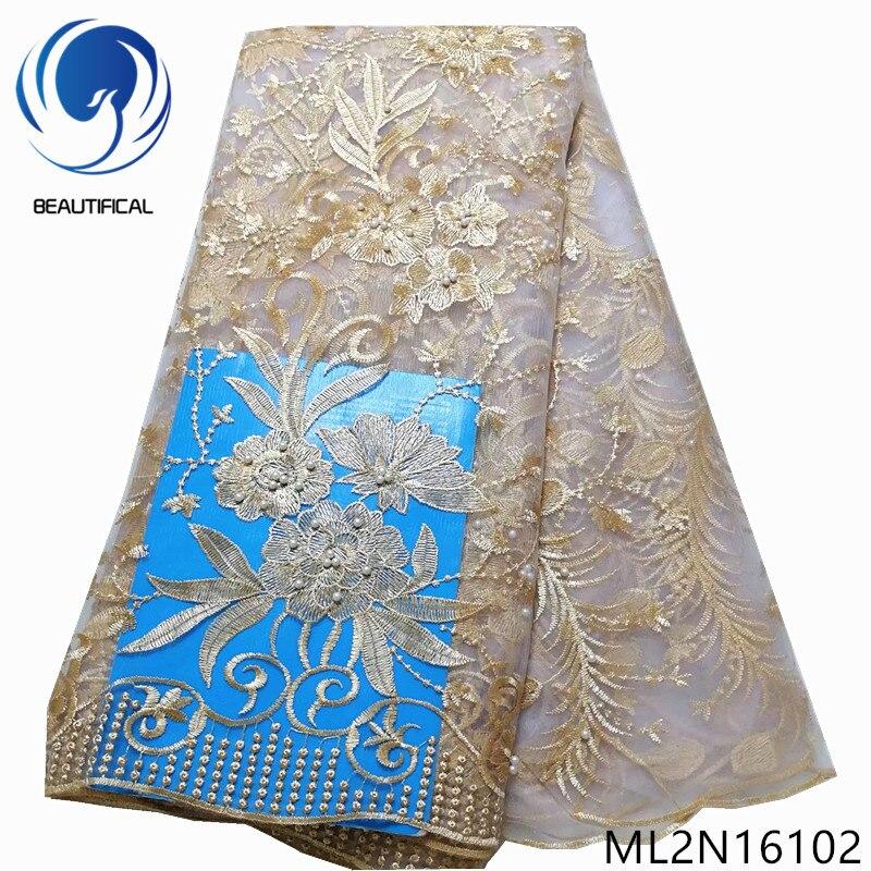 Hermosa tela de encaje de tul para fiesta, tela de malla bordada francesa africana, 5 yardas, malla encaje nigeriano ML2N161