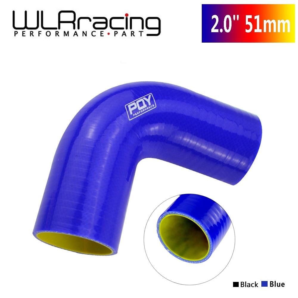 "WLR מירוץ-2.0 ""51mm 90 תואר מרפק סיליקון צינור צינור הצריכה טורבו שחור כחול WLR-SH9020-QY"