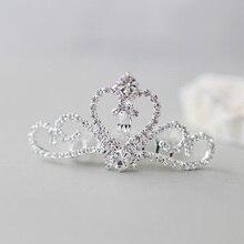 Прозрачный камень маленький гребешок для волос в виде тиары принцесса девушки корона для волос, аксессуары для диадема
