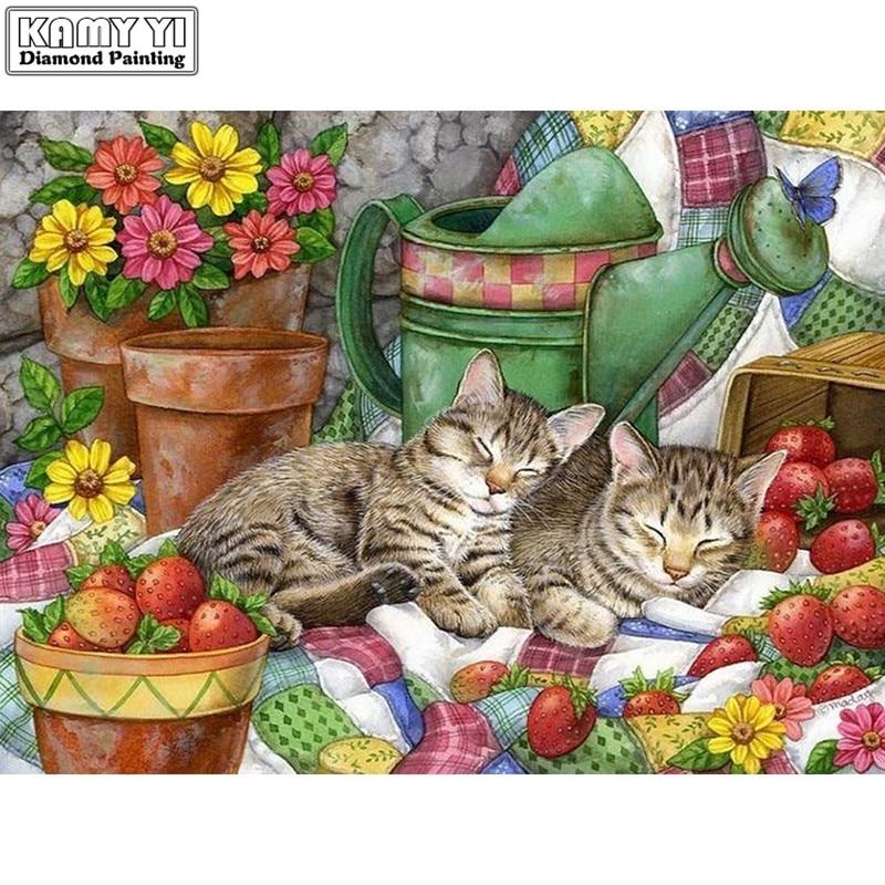 5d diy diamante perla de pintura bordado punto de cruz diamante mosaico dibujo gato flor símil punto decoración arte hogar Decoración regalo XY1