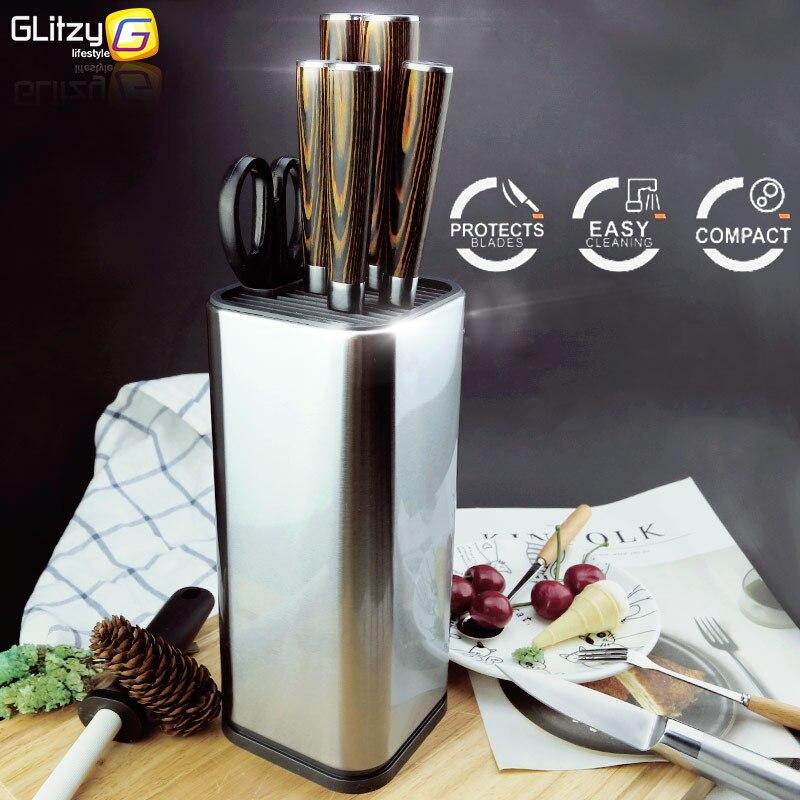Titular da faca de aço inoxidável 304 para multi faca cozinha conjunto tesoura utensílios cozinha organizador facas suporte bloco ferramenta