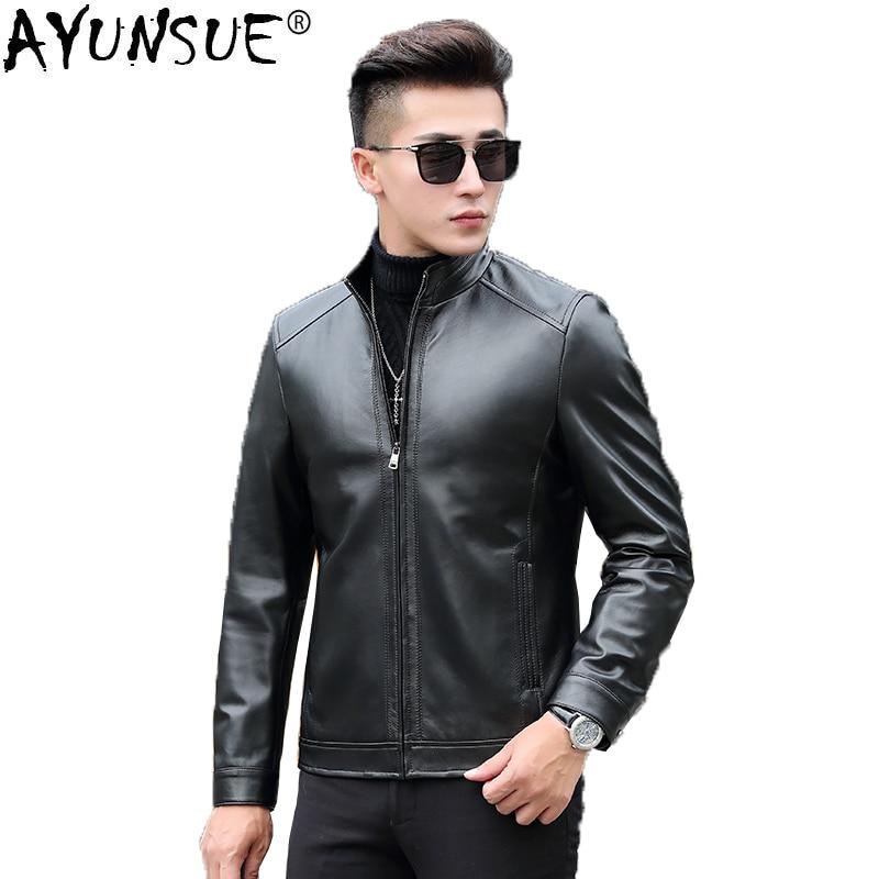 AYUNSUE Short Genuine Leather Jacket Men Spring Autumn Coat Man Mens Sheepskin Coat Real Leather Jackets and Coat 18017 KJ1080