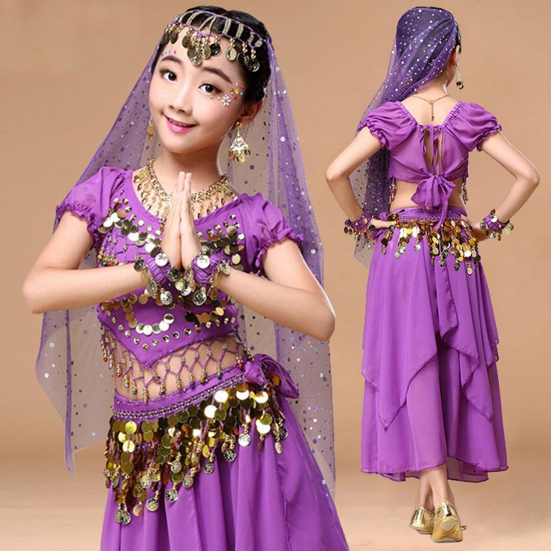 Костюм для танца живота для девочек, Детский костюм для индийских танцев для девочек, Детский костюм для танцев