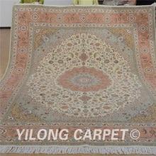 Yilong-tapis en laine orientale 8 x 10   Tapis de sol rose en laine persane exquise, tapis en soie (1320)