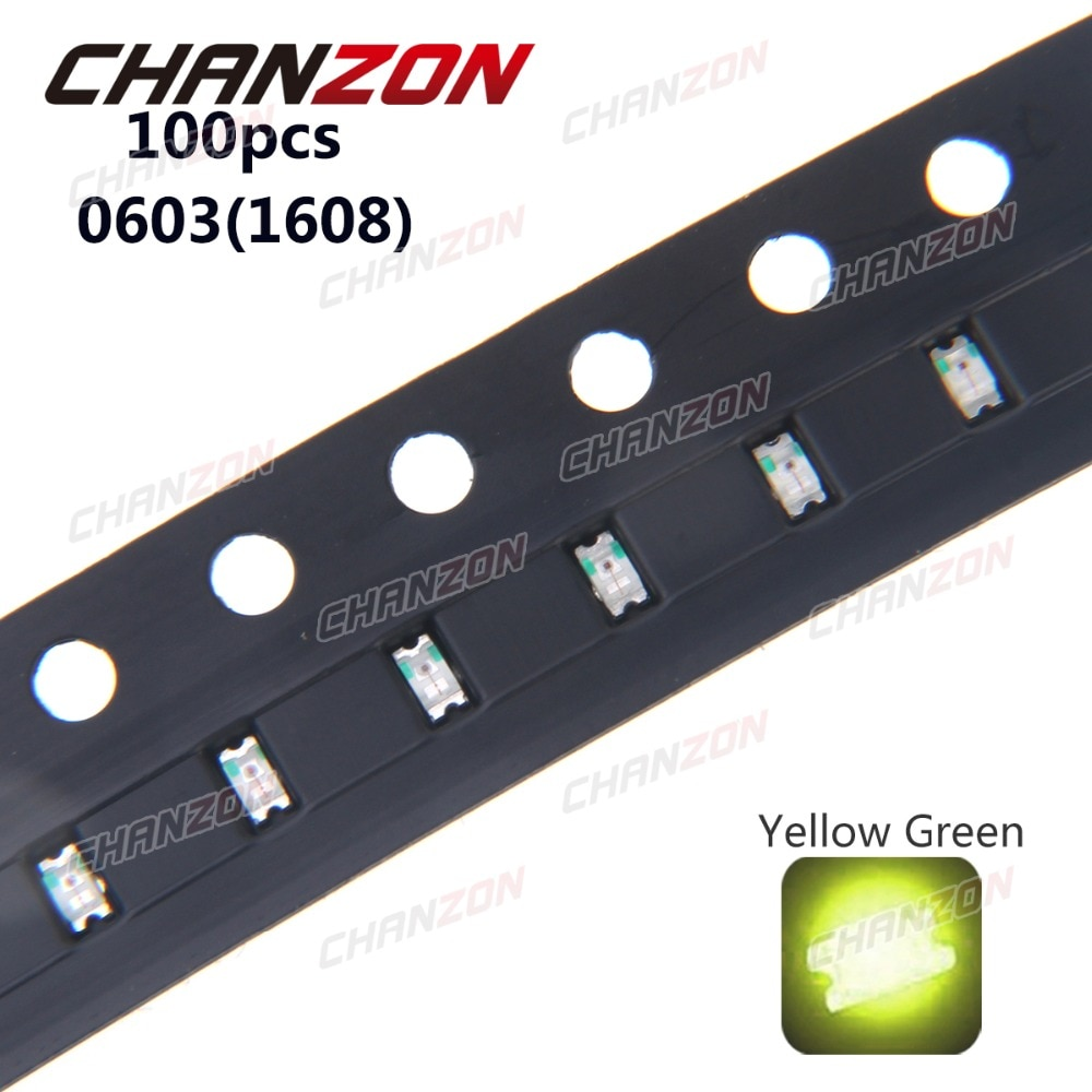 100 Uds SMD 0603 (1608) amarillo verde 20mA DC 2V montaje superficial SMT perla bombilla LED lámpara de diodo emisor componentes electrónicos