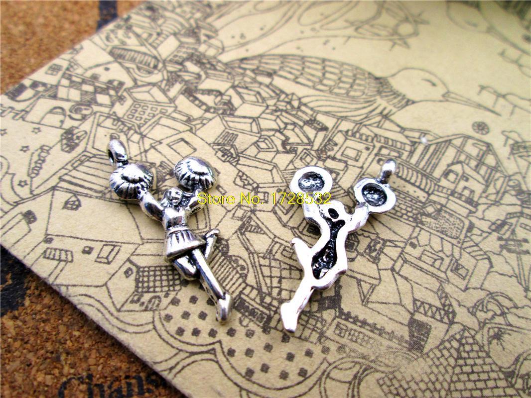 25pcs-cheerleaders-charms-antiqued-silver-tone-cheerleaders-charm-pendants-28x14mm