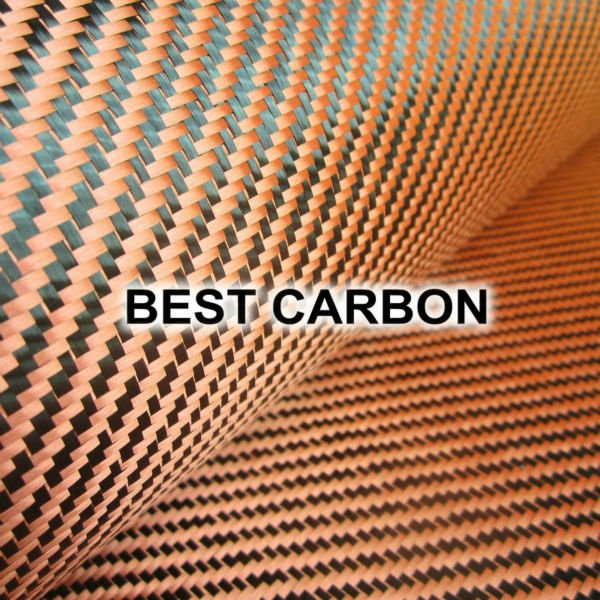 Tela de carbono híbrida roja de alta calidad, tela de carbono-Aramid, tela de carbono-Kevlar