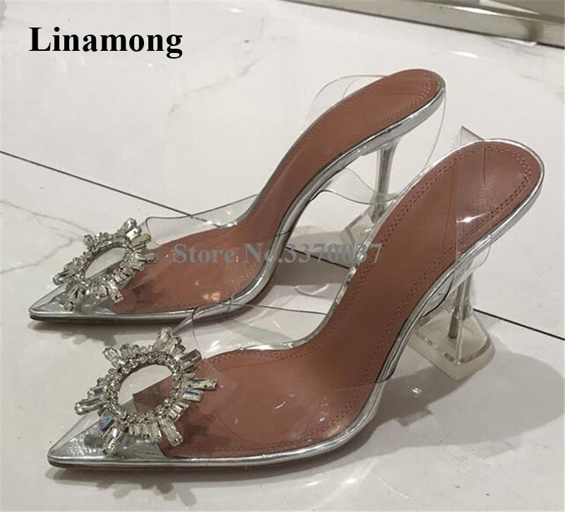 Las mujeres más nuevas de moda Bling Rhinestone hebilla puntiagudo dedo del pie PVC bombas transparentes de cristal Strange talones Zapatos de vestir de boda