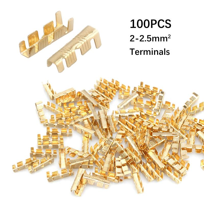 100 sztuk DJ453C u-style Crimpping Terminal Tab zimne wkładki złącza zimny Terminal małe zęby konsola Terminal 2-2.5mm2