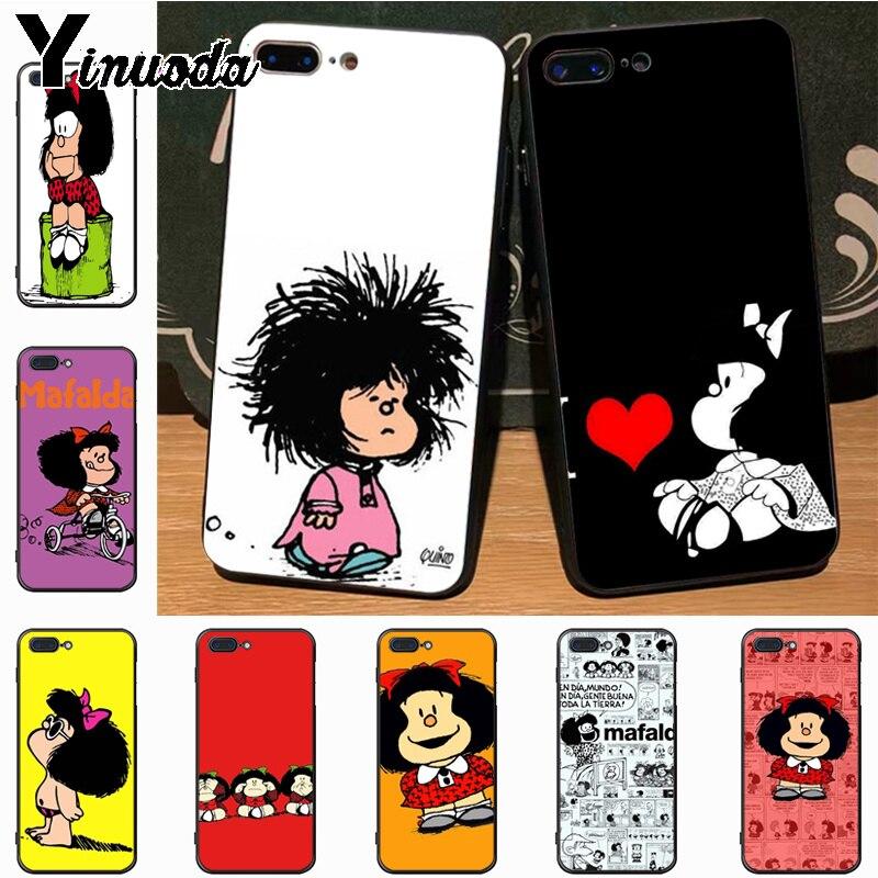 Yinuoda mafalda quadros de imagem clássica capa do telefone móvel para o iphone 7plus x 6 s 7 8 plus 5 5S caso