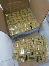 Высококачественная стеклянная мозаичная плитка Gloden, 1 коробка, 11 шт., в средиземноморском стиле для фоновой стены, мозаичный лист из хрустал...