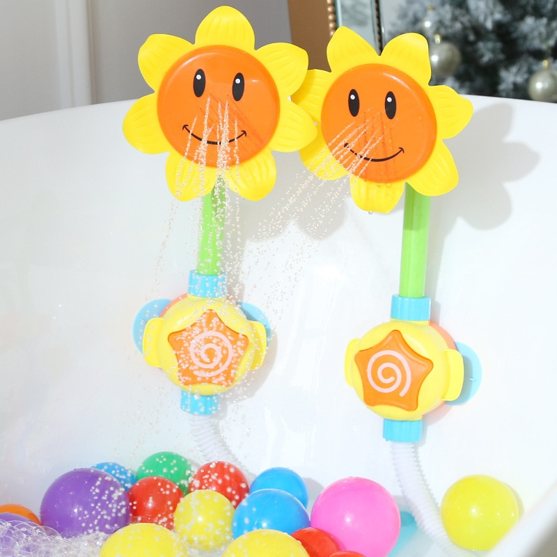 Juguete de baño para bebé, bañera, grifo de ducha con forma de girasol, Agua pulverizada, baño, juguetes de baño para niños, divertido juego de agua
