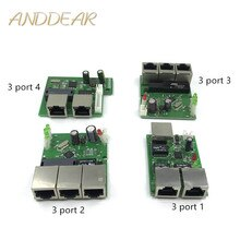 OEM usine directe mini rapide 10 / 100mbps 3 ports Ethernet réseau lan hub carte de commutation deux couches pcb 3 rj45 5v 12vhead port
