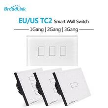 Broadlink TC2 ue norme américaine 1 2 3 voies tactile interrupteur mural télécommande intelligente via Broadlink RM Pro TC 2 Wifi