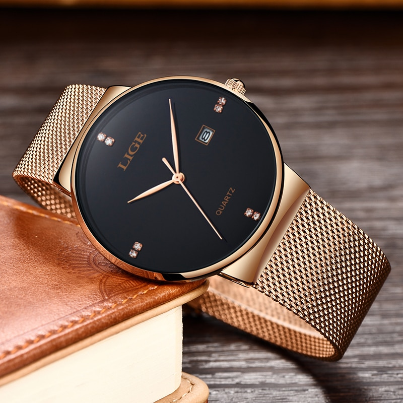 2019 LIGE Women Watch Rose gold black Quartz Watch Lady Casual Waterproof Simple Ladies watch Womens Wristwatch Relogio Feminino enlarge