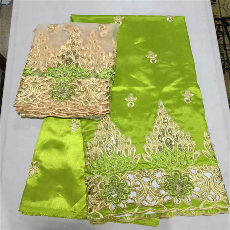 Alta qualidade limão verde ouro 5 metros africano george tecido + 2 metros de renda líquida francesa conjuntos com muitas pedras para fazer vestido