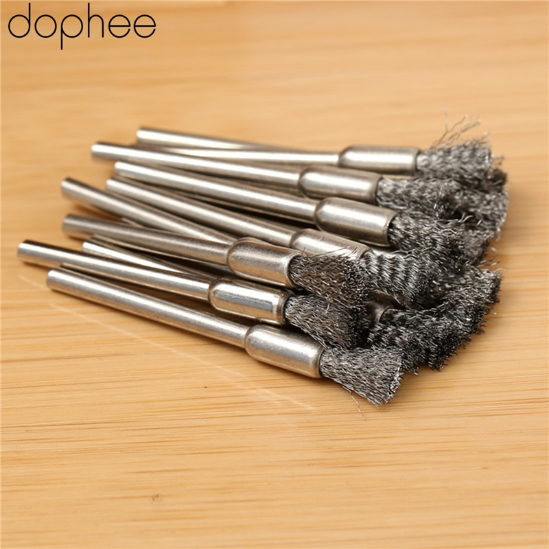 Dophee 15 uds, accesorios Dremel de alambre de acero, rueda de pulido de alambre de acero, cepillos de pulido de desbarbado, herramientas giratorias, herramienta abrasiva de rebaba