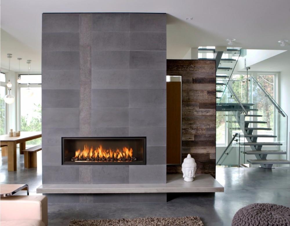 on sale 48 inch decorative chimney black wifi intellgent ethanol fireplace
