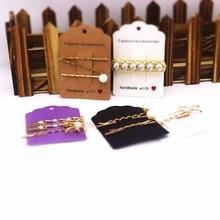 Feiluan custom 50pcs 6x8.7cm new diy style hair clip packing tag card Handmade with love print brown/white/ decoration tag card