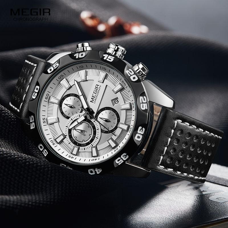 Megir رجال الرياضة العسكرية الساعات حزام من الجلد العلامة التجارية الأعلى كرونوغراف 3 بار مقاوم للماء مضيئة ساعة معصم رجل 2096G الأبيض