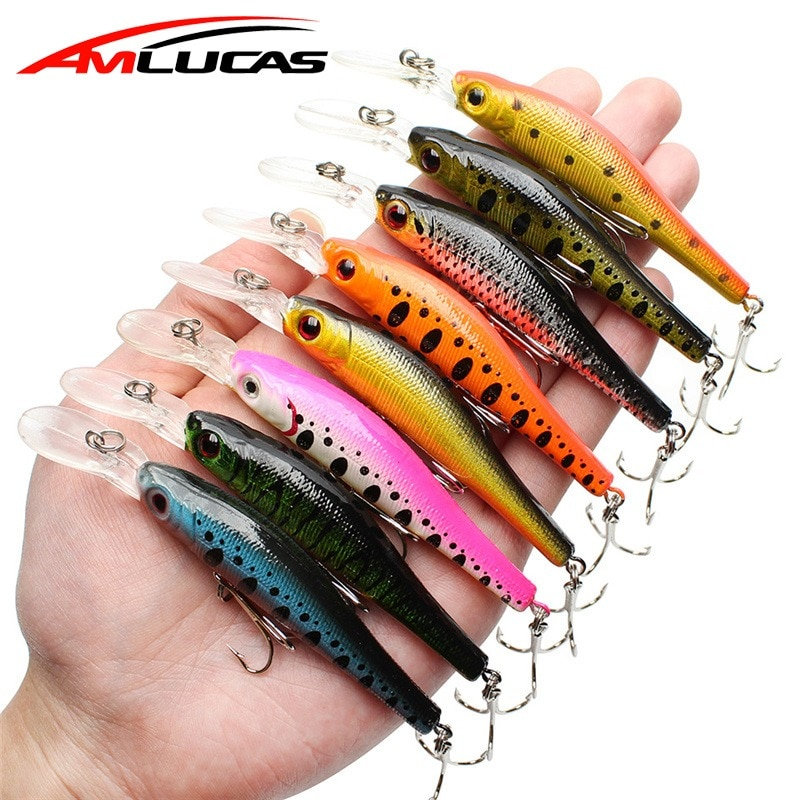 Señuelo de pesca Amlucas, cebo de Lucio Minnow 95mm 6,7g, Jerkbait, ojos 3D, Crankbait, Wobblers, cebo artificial para carpa, señuelos Swimbait WW1115