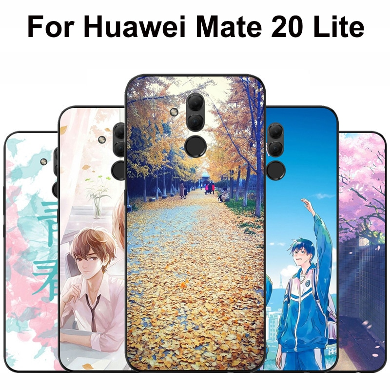 Luxury Soft Phone Cases For Huawei Mate 20 Lite Case College style Mate20 Lite Black Protective case