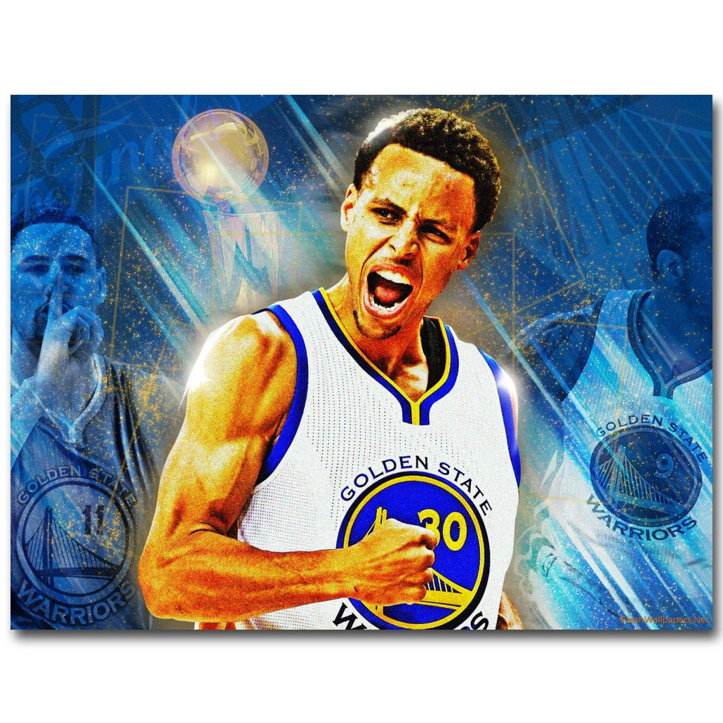 Stephen Curry, baloncesto MVP arte de estrella de seda póster de tela de impresión 13x18x24x32 pulgadas deporte fotos para pared de habitación decoración 018