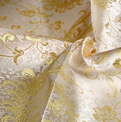 Traje de tela brocada de 90cm x 100cm, traje de kimono, vestido, telas, embalaje textil, materiales oro blanco, Pteris peonies diy tela