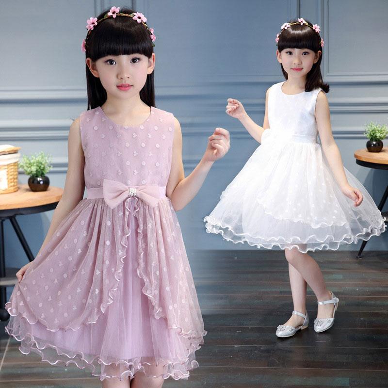 2017 Summer Girls Dress For Birthday Party and Wedding Kids Girl Princess Dressing Elegant Child Children Clothes Bow lie Dress