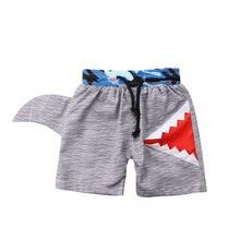 Summer Kids Boy Swimming Trunks Swim Shorts Cartoon Shark Bottom Trunks Beachwear Gray Swimsuit Bathing Suit 0-7Y
