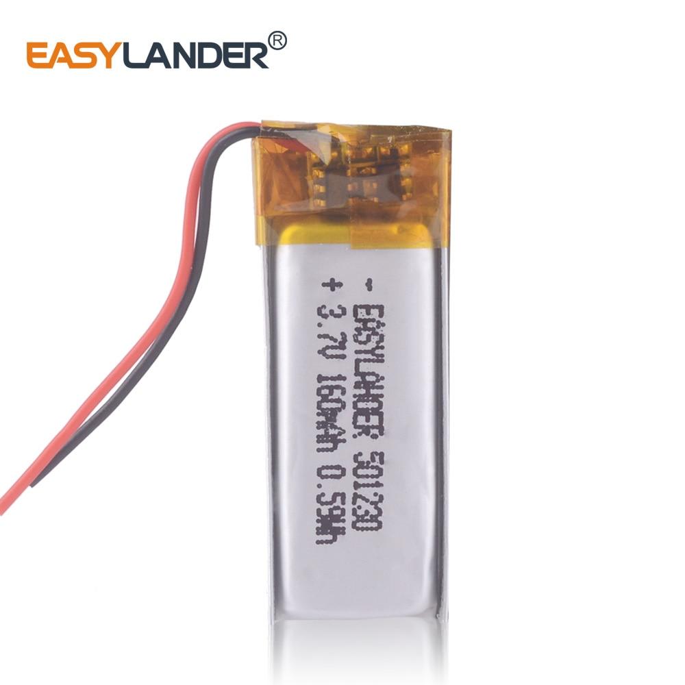 501230  3.7V 160mAh Rechargeable Li-Polymer Li-ion Battery For mp3 mp4 mp5 toys DVR smart watch Sports bracelet 511129 501130